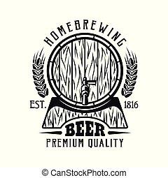紋章, 隔離された, ビール, ベクトル, 樽, 白