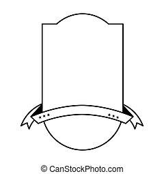 紋章, 隔離された, リボン, アイコン