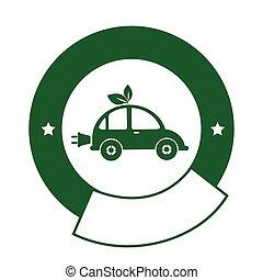 紋章, 電気のカラー, 自動車, eco, 円