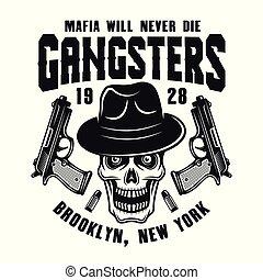 紋章, 頭骨, ギャング, 白, マフィア, 帽子