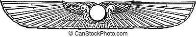 紋章, engraving., 型, 太陽