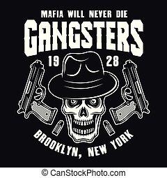 紋章, fedora, 頭骨, ギャング, マフィア, 帽子