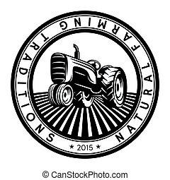 紋章, illustration., ベクトル, デザイン, ロゴ, トラクター