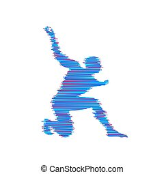 紋章, illustration., fists., 提示, 若い, sport., ベクトル, デザイン, テンプレート, training., 攻撃的である, 人