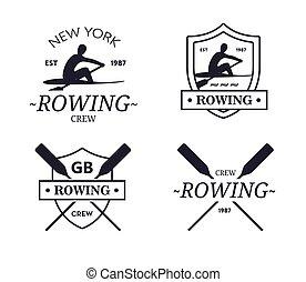 紋章, paddles., ボート競技, クルー, ベクトル, チーム, rower, silhouette., ...