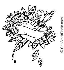 紋身, 心, 刺穿, 由于, dagger., 血液, 水滴, 從, heart., 老, 學校, 風格