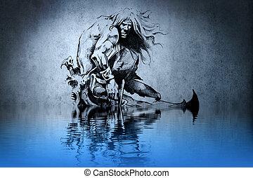 紋身, 戰士, 在, the, 戰爭, 上, 藍色的牆, 由于, 水, 反映