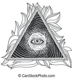 紋身, 插圖, 摘要, 神聖, 幾何學, 由于, an, 都看, eye.