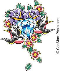 紋身, 鑽石, 鳥, 花