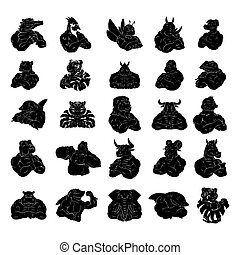 紋身, 集合, 動物, 彙整, 大