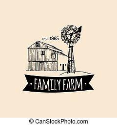 納屋, プロダクト, レトロ, 風車, poster., sketched, icons., 家族, ベクトル, 農場...