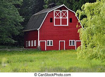 納屋, 牧草地, 赤, 横切って