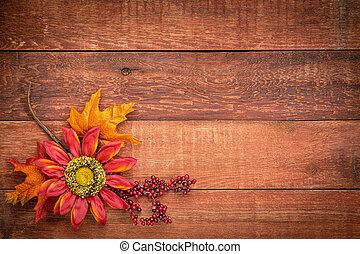 納屋, 背景, 木, 秋, 装飾