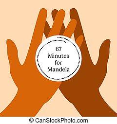 納爾遜, mandela, 國際, day., 18, july., 67, 分鐘, 為, mandela., 手, 握住, a, 被風格化, clock.