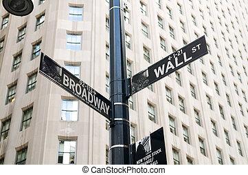 紐約市, -, 4, sep, 2010, -, 華爾街, 以及, 證券交易所