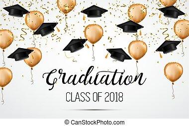 紙ふぶき, クラス, 帽子, celebration., balloons., 学者, 卒業, 2018., おめでとう, graduates.