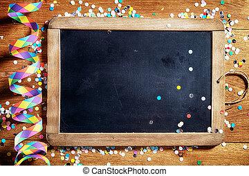 紙ふぶき, テーブル, 黒, 吹流し, 板