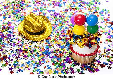紙ふぶき, パーティー, cupcake, 帽子