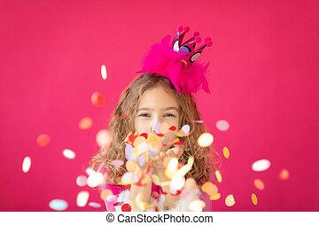 紙ふぶき, ピンク, 空想, に対して, 吹く, 女の子, bakground