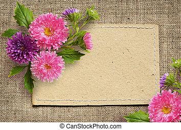紙カード, そして, アスター, 花