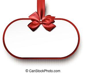 紙カード, bow., 贈り物, 赤い白
