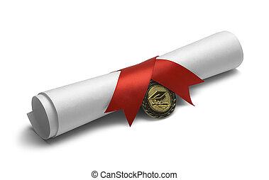 紙卷, 由于, 畢業証書, 獎章