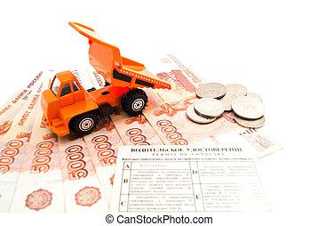 紙幣, トラック, コイン, 運転免許証
