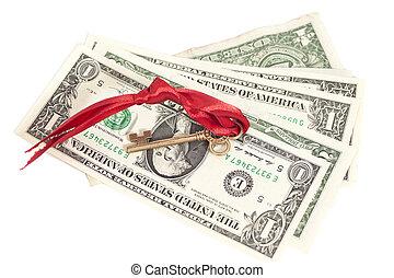 紙幣, ドル, キー, 成功, 1(人・つ)