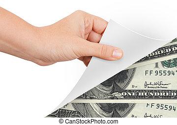 紙幣, 回転しているページ, 手