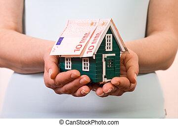 紙幣, 家, 概念, 保険, ユーロ