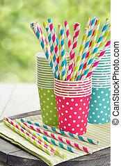紙杯子, 以及, 有條紋, 稻草草帽