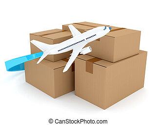 紙板, 包裹, 由于, 飛機, 在上方, 白色