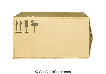 紙盒, 箱子, 由于, 小心, 符號, 被隔离, 在懷特上, 背景