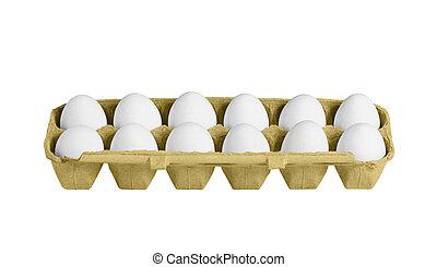 紙盒, 箱子, 由于, 蛋, 被隔离, 上, the, 白色 背景