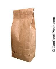 紙袋子, ......的, 茶, with., 被隔离, 上, white.