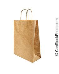 紙袋子, 被隔离, 在懷特上