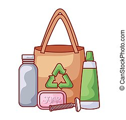 紙袋, 生態学的, セット, アイコン