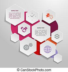 紙, 元素, 設計, 事務, infographics