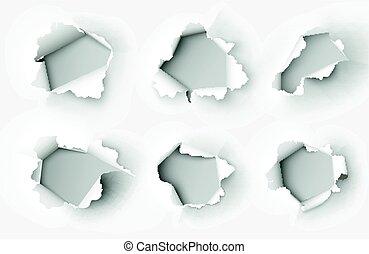 紙, 白色, 撕破, 洞