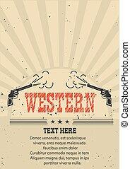 紙, 老, 插圖, guns., 矢量, 牛仔, 海報, 西方