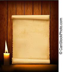 紙, 老, 背景, candl