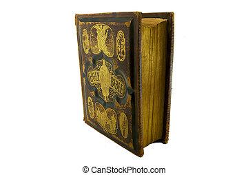 紙, 老, 邊緣, 聖經, 家庭, 前面