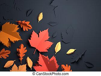 紙, 藝術, -, 秋天, 變為葉子