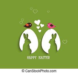 紙, 蛋, 由于, 陰影, 復活節, 卡片