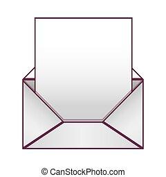 紙, 表, 打開, 信封, 空白