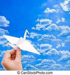 紙, 起重機, 針對, the, 藍色的天空