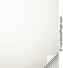 紙, 透明, 彎曲, 背景, 表, 角落, 空白