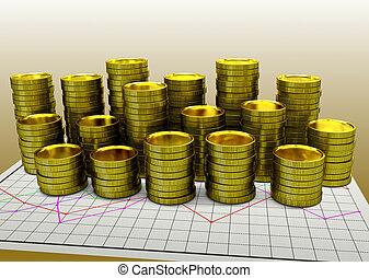 紙, 黃金, 硬幣, 金融, 圖表