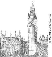 素描, ......的, 大本鐘, 倫敦, england
