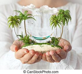 素晴らしい, やし, 島, 女性, ハンモック, 小さい, hands.